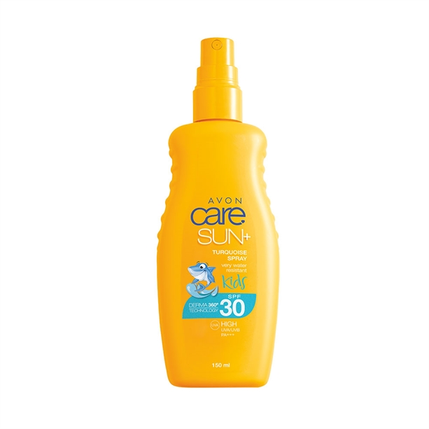 Spray turcoaz de protectie solara Avon Care Sun Kids SPF30 - Catalog Avon