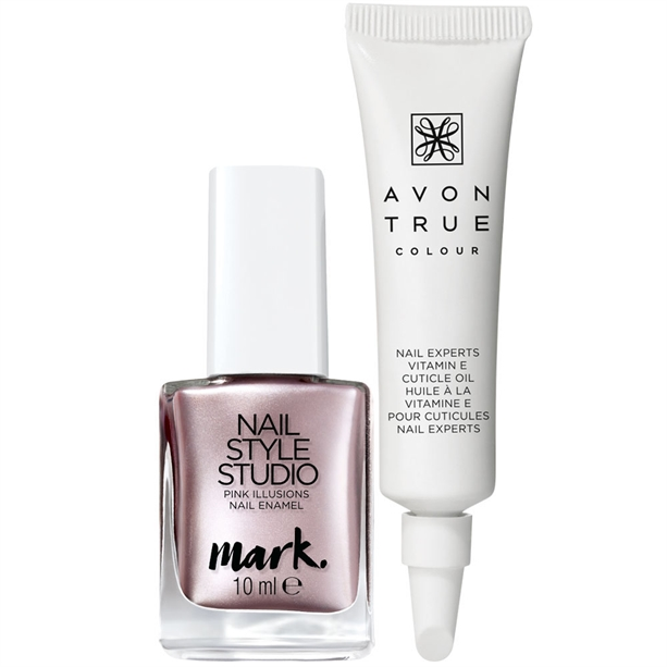 Set Lac de unghii mark. Nail Style Studio Pink Illusions si Ulei pentru cuticule True Colour Nail Experts - Catalog Avon
