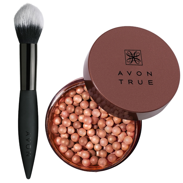 Set Perle bronzante True Colour Glow si Pensula pentru blush - Catalog Avon