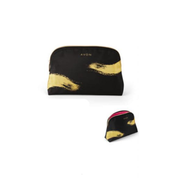 Geanta neagra pentru cosmetice cu imprimeu auriu Logo - Catalog Avon