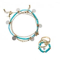 Set de bijuterii pentru glezna si inele pentru picior