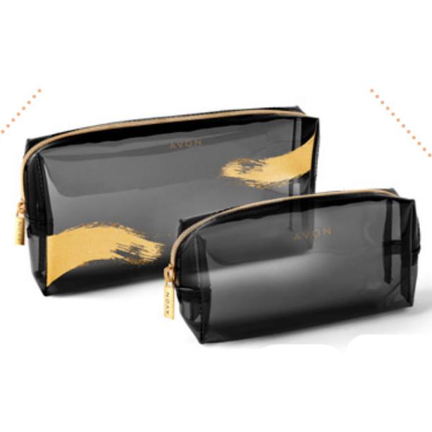Set de 2 portfarduri transparente cu imprimeu auriu Logo - Catalog Avon