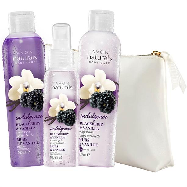 Set 3 produse Naturals cu mure si vanilie si Geanta pentru cosmetice - Catalog Avon