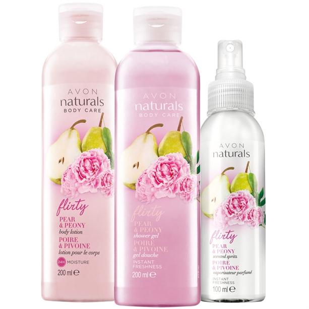 Set 3 produse Naturals cu aroma de pere si bujor - Catalog Avon