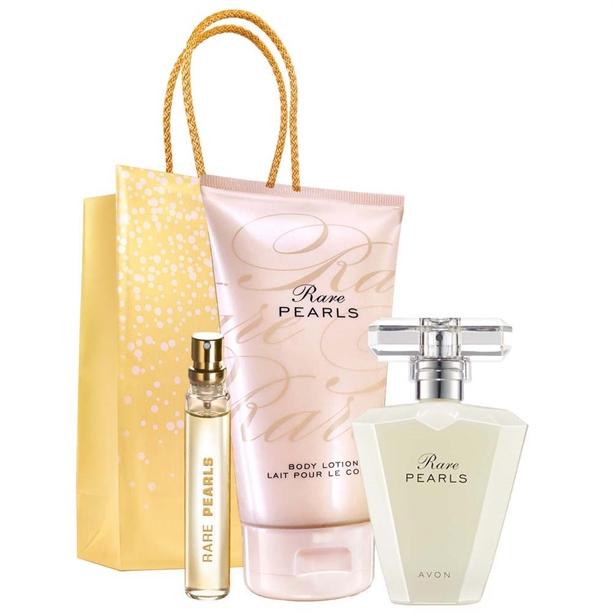 Set 3 produse Rare Pearls si Punga cadou Avon - auriu - Catalog Avon