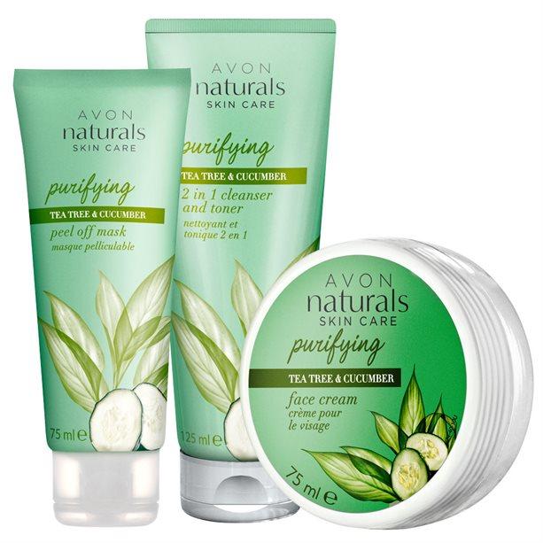 Set 3 produse Naturals cu extract de castravete si arbore de ceai - Catalog Avon