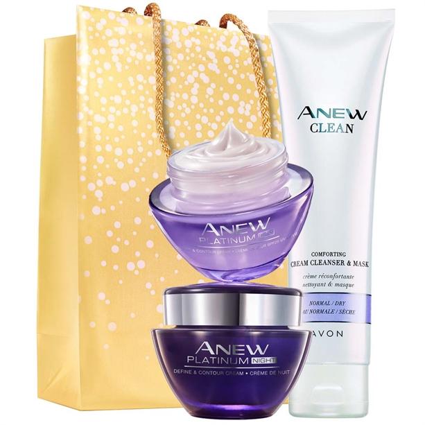 Set Crema de noapte si zi Anew Platinum, Gel de curatare Anew si Punga cadou Avon - Catalog Avon