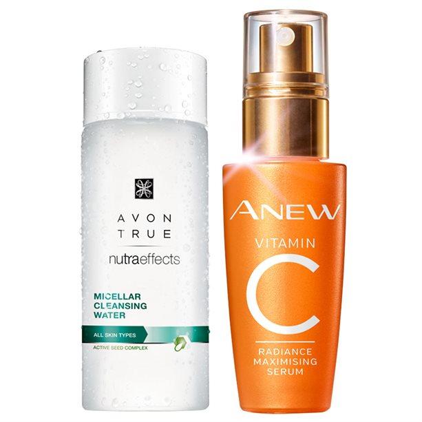 Set Apa micelara Avon Nutra Effects si Ser pentru luminozitatea tenului cu 10  Vitamina C - Catalog Avon