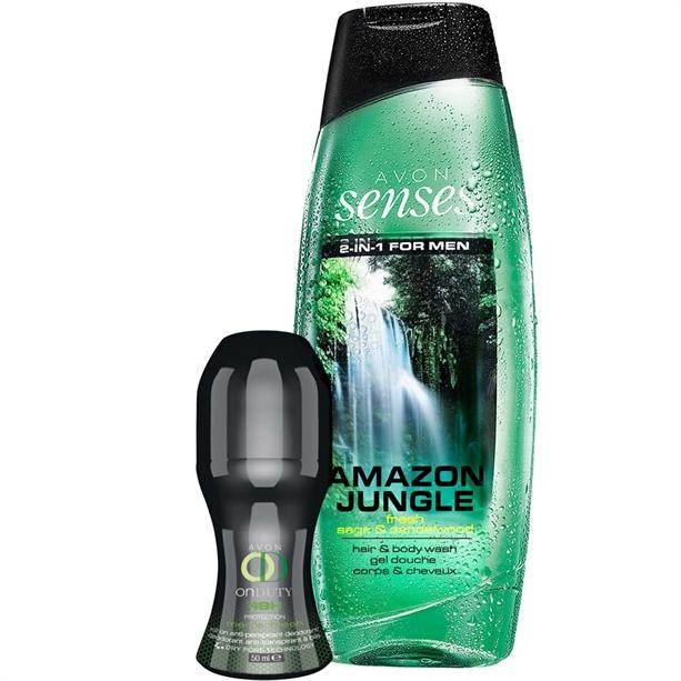 Set gel de dus Amazon Jungle si deodorant cu bila On Duty 48h Men Fresh - Catalog Avon