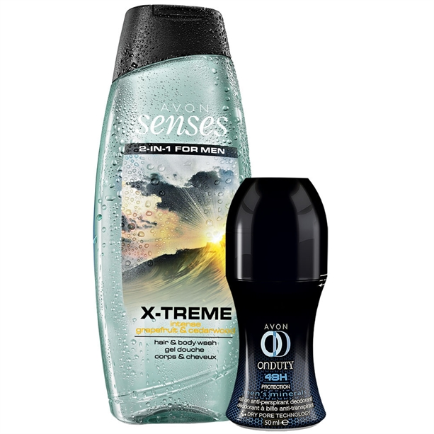 Set Gel de dus Senses Xtreme si Deodorant cu bila On Duty 48h Men Active - Catalog Avon