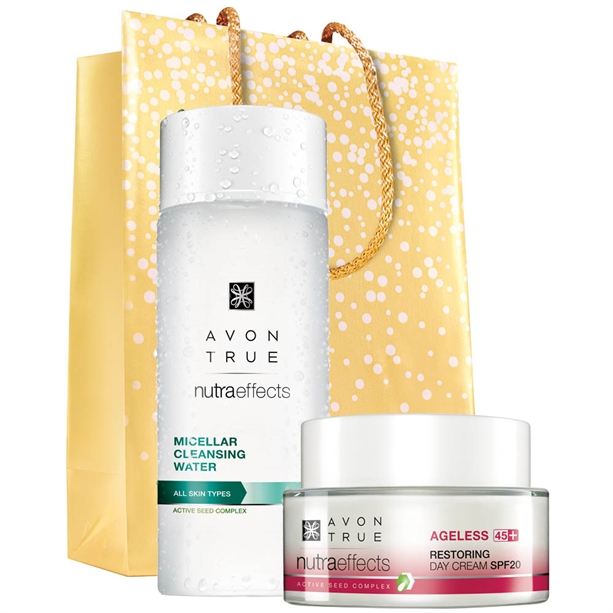 Set Crema de zi True Nutra Effects Ageless 45+, Apa micelara si Punga cadou - Catalog Avon