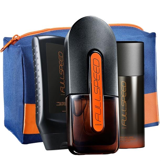Set 3 produse Full Speed si Geanta pentru cosmetice barbati - Catalog Avon