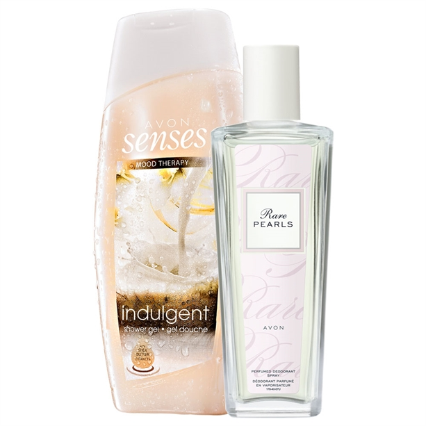Set Gel de dus Indulgent si Spray parfumat Rare Pearls - Catalog Avon