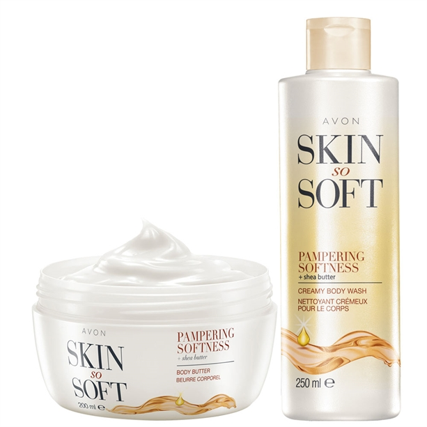 Set Gel de dus si Crema de corp Skin So Soft cu unt de shea Pampering Softness - Catalog Avon